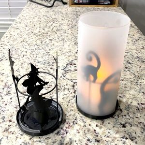 SET of TWO Halloween Candle Stands with one frosted glass Toppper Cat Witch